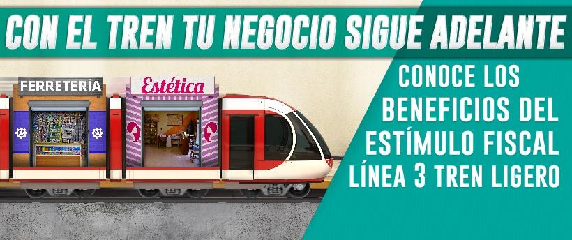 Imagen que indica que se otorgarán estímulos fiscales por las obras de la línea 3 del tren eléctrico